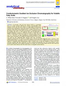 Conductometric Gradient Ion Exclusion Chromatography for Volatile ...