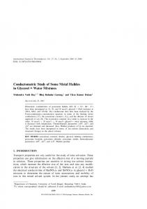 Conductometric Study of Some Metal Halides in ... - Springer Link