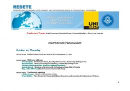 CONFERENCE PROGRAMME October 22, Thursday