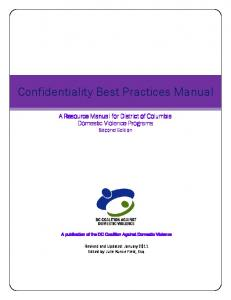 Confidentiality Best Practices Manual - DC Coalition Against ...