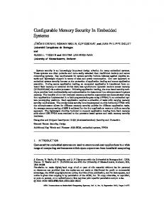 Configurable Memory Security In Embedded Systems - CiteSeerX