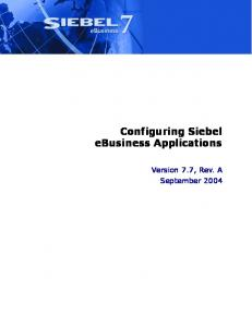 Configuring Siebel eBusiness Applications - Oracle Documentation