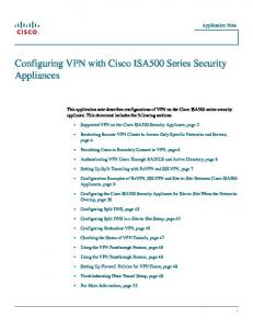 Configuring VPN with Cisco ISA500 Series Security Appliances