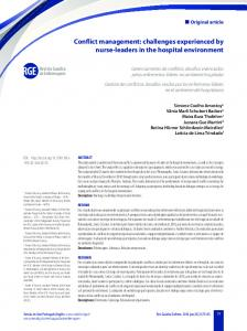 Conflict management: challenges experienced by nurse-leaders in the ...