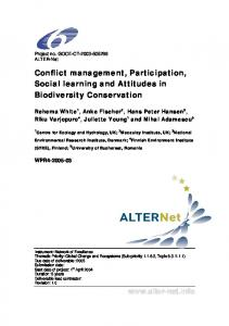 Conflict management, Participation, Social learning and ... - CiteSeerX