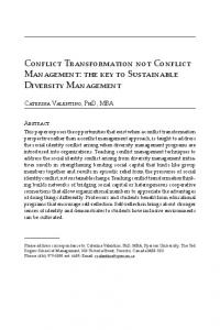 Conflict Transformation not Conflict Management: the ...