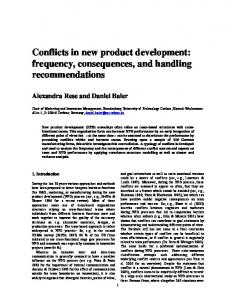 Conflicts in new product development: frequency ... - CiteSeerX