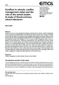 Conflicts in schools, conflict management styles and