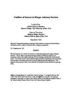 Conflicts of Interest in Merger Advisory Services