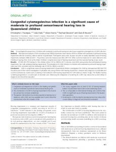Congenital cytomegalovirus infection is a significant cause of ...