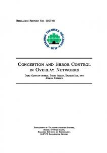 Congestion and Error Control in Overlay Networks - DiVA portal