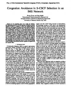 Congestion Avoidance in S-CSCF Selection in an IMS Network