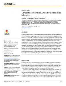 Congestion Pricing for Aircraft Pushback Slot Allocation - PLOS