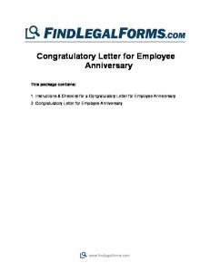 Congratulatory Letter For Employee Anniversary