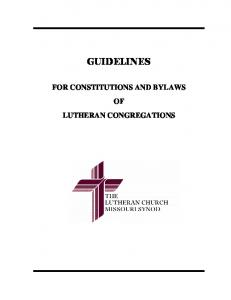 Congregational Constitution and Bylaws Guidelines
