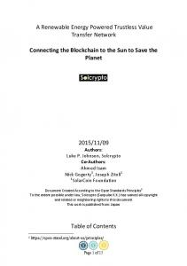 Connecting the blockchain to the sun to save the