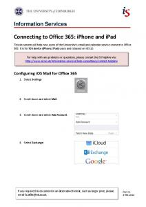 Connecting to Office 365: iPhone and iPad