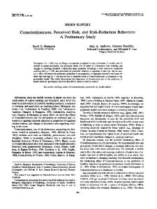 Conscientiousness, Perceived Risk, and Risk ...