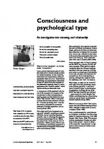 Consciousness and psychological type