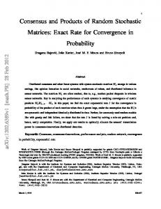 Consensus and Products of Random Stochastic Matrices - CiteSeerX