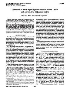 Consensus of Multi-Agent Systems with an Active Leader and ...