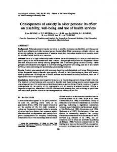 Consequences of anxiety in older persons: its ... - Semantic Scholar