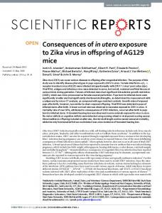 Consequences of in utero exposure to Zika virus in