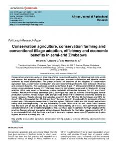 Conservation agriculture, conservation farming ... - Academic Journals