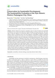 Conservation for Sustainable Development: The Sustainability ... - MDPI