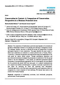 Conservation in Context: A Comparison of Conservation ... - MDPI