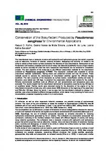 Conservation of the Biosurfactant Produced by Pseudomonas ...