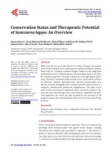 Conservation Status and Therapeutic Potential of Saussurea lappa ...