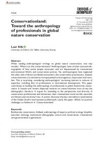 Conservationland: Toward the anthropology of professionals in global