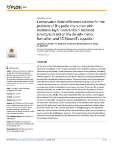 Conservative finite-difference scheme for the problem of THz ... - PLOS