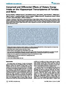 Conserved and Differential Effects of Dietary Energy Intake on ... - Plos