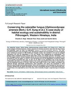 Conserving the caterpillar fungus [Ophiocordyceps sinensis (Berk ...