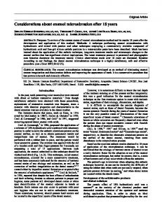 Considerations about enamel microabrasion after 18 years (PDF ...