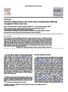 Considerations Affecting Transgender Women and Girls