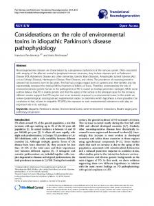 Considerations on the role of environmental toxins in ... - ScienceOpen
