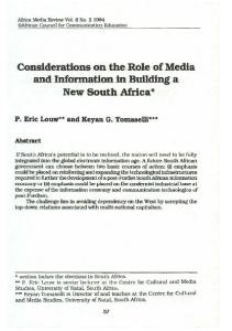 Considerations on the Role of Media and Information in ... - CiteSeerX