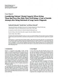 Considering Patients' Mental Capacity When Giving Them Bad News ...