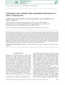 Consistent and variable leaf anatomical characters ... - Oxford Journals