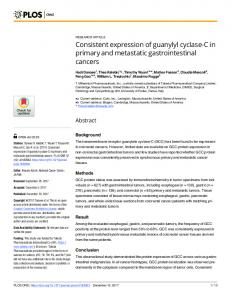 Consistent expression of guanylyl cyclase-C in ... - Semantic Scholar