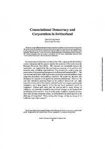 Consociational Democracy and Corporatism in ...