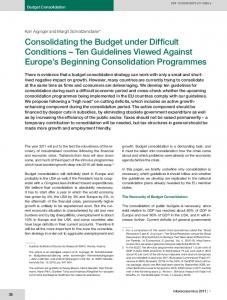 Consolidating the Budget under Difficult Conditions - Intereconomics