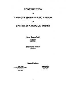 CONSTITUTION HANEGEV (SOUTHEAST) REGION UNITED ...
