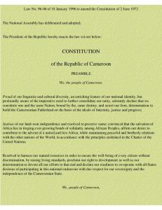 CONSTITUTION of the Republic of Cameroon - Constitution Finder