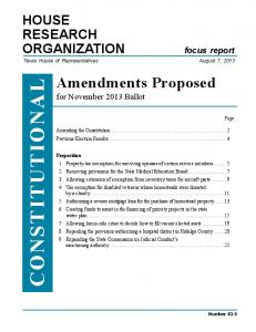 Constitutional Amendments Proposed for November 2013 Ballot