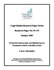 Constitutionalism and Democracy: Understanding the Relation - SSRN