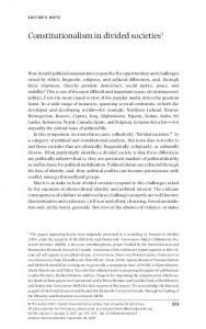 Constitutionalism in divided societies 1 - Oxford Journals